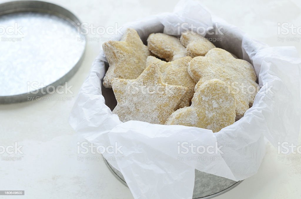 Homemade ginger cookies in tin box royalty-free stock photo