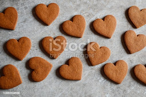 istock Homemade gingerbread cookies in shape of heart 1088359890