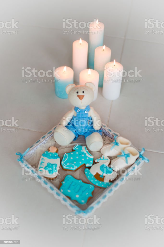 Homemade gingerbread decorated with icing. On the birthday of his son royalty-free stock photo