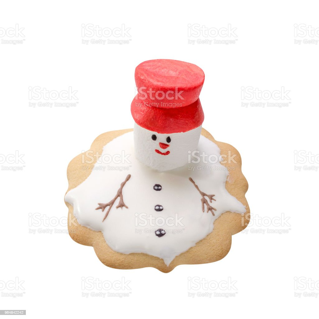 homemade gingerbread like melting snowman isolated on white royalty-free stock photo