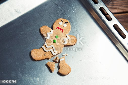 istock Homemade gingerbread man cookie 859583796