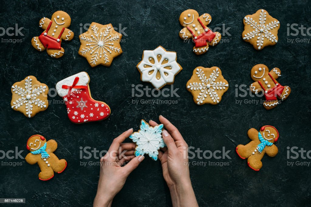homemade gingerbreads with icing stock photo