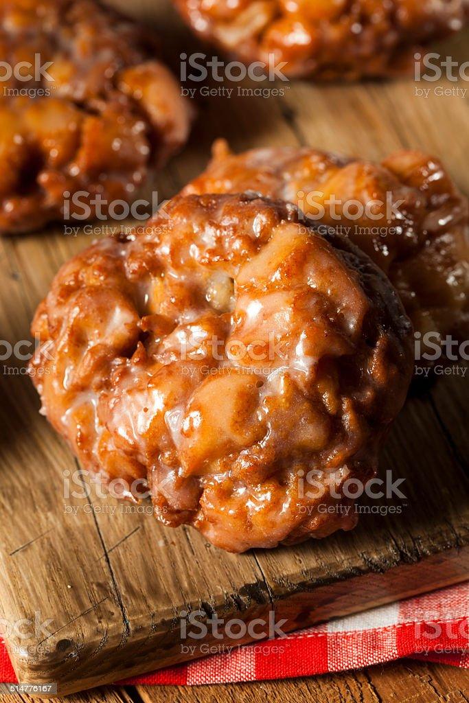 Homemade Glazed Apple Fritters stock photo