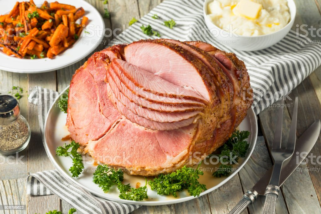 Homemade Glazed Easter Spiral Cut Ham stock photo