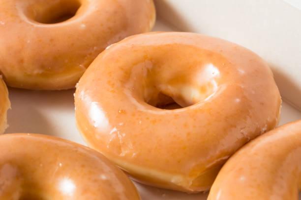 Homemade Glazed Yeast Donuts stock photo
