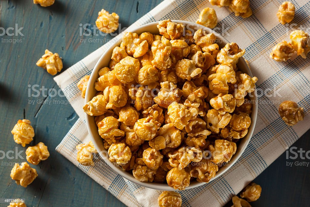 Homemade Golden Caramel Popcorn stock photo