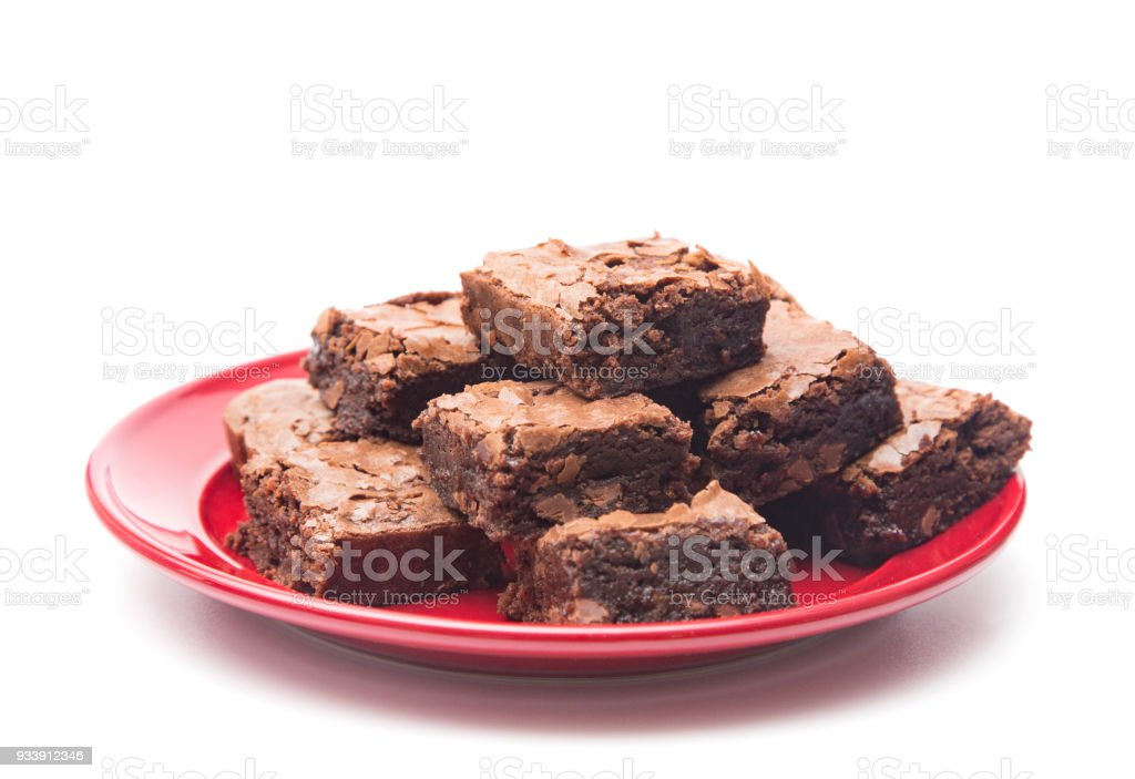 Homemade Gooey Double Chocolate Brownies on a White Background - foto stock