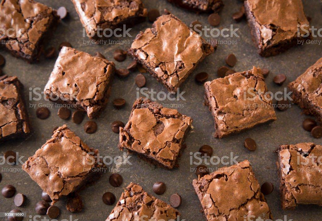 Brownies de Chocolate doble pegajosas caseros - foto de stock