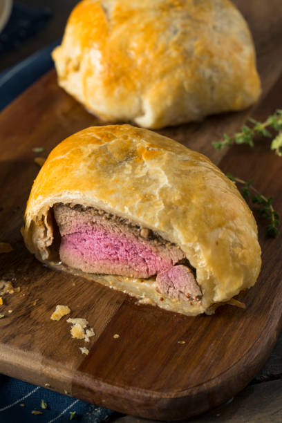 Homemade Gourmet Individual Beef Wellington stock photo