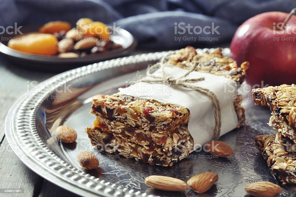 Homemade granola bars served on silver platter royalty-free stock photo