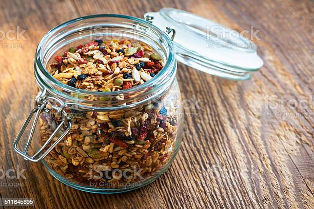 Homemade granola in open glass jar picture id511645695?b=1&k=6&m=511645695&s=612x612&h=bl an oze3wnv1z9apcqn2t4ocktqvu4jic1u1a55ue=