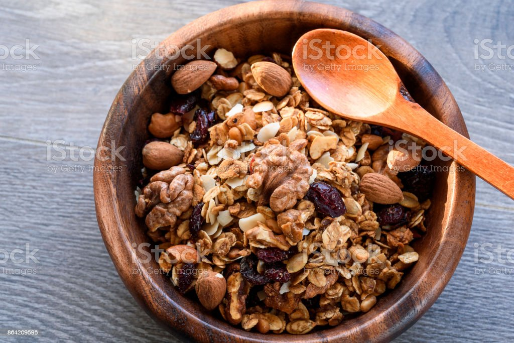 homemade granola in wooden bowl royalty-free stock photo
