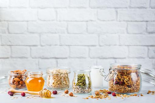 istock Homemade granola muesli with ingredients, healthy food for breakfast 1153858220