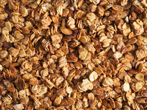 homemade granola texture - muesli imagens e fotografias de stock