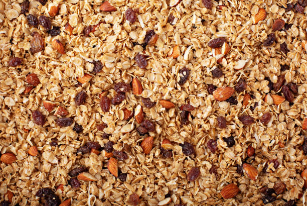 Homemade granola with coconut and almonds stock photo