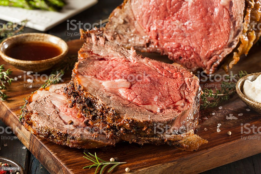 Homemade Grass Fed Prime Rib Roast stock photo