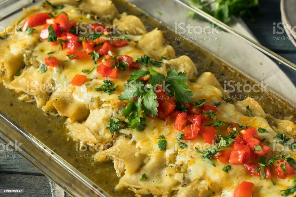 Homemade Green Chicken Enchiladas stock photo