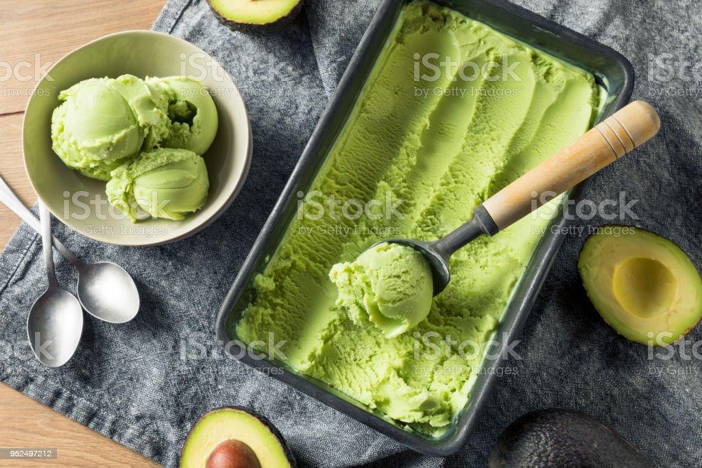 Homemade Green Organic Avocado Ice Cream stock photo