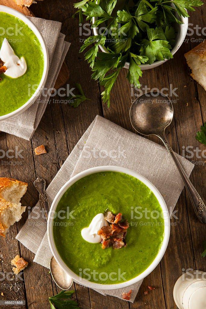 Homemade Green Spring Pea Soup stock photo