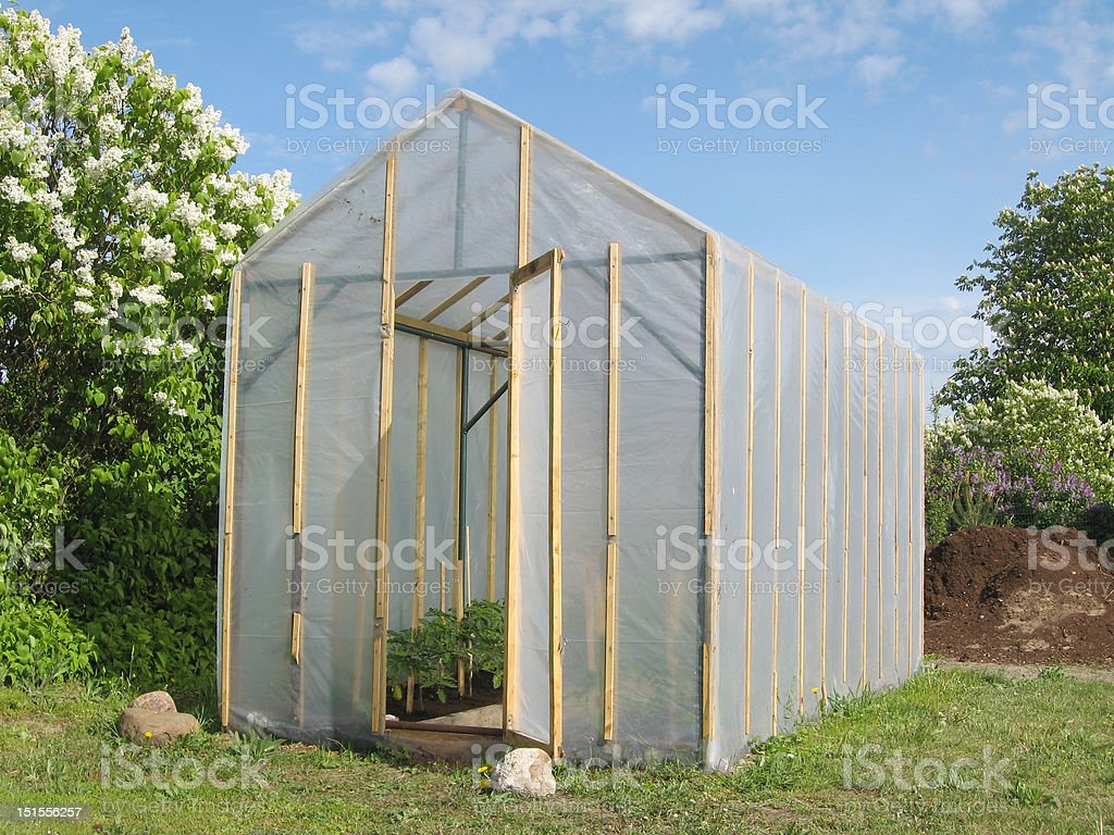 Homemade greenhouse royalty-free stock photo