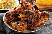 Homemade Grilled Barbecue Chicken with all the Sides