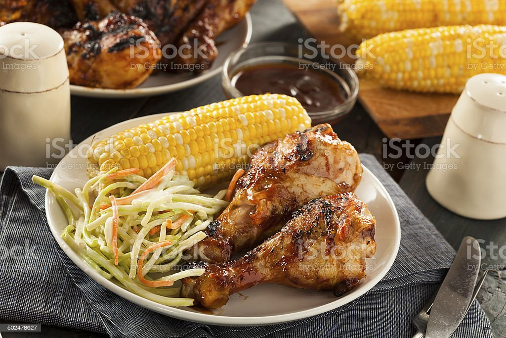 Homemade Grilled Barbecue Chicken stock photo