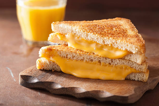 homemade grilled cheese sandwich for breakfast - cheese sandwich bildbanksfoton och bilder