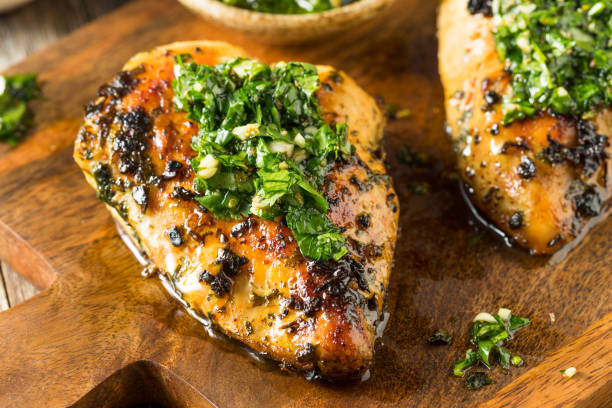 Homemade Grilled Chimichurri Chicken Breast stock photo