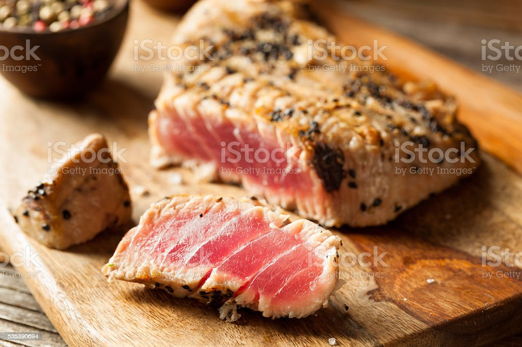 Homemade Grilled Sesame Tuna Steak stock photo