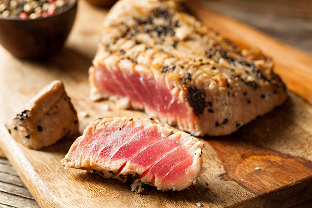 Homemade Grilled Sesame Tuna Steak Homemade Grilled Sesame Tuna Steak with Soy Sauce tuna animal stock pictures, royalty-free photos & images