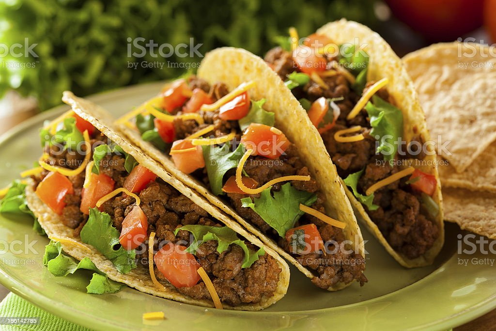 Homemade Ground Beef Tacos stock photo