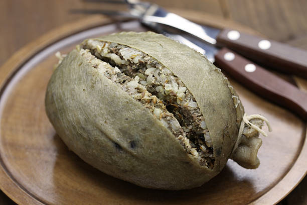 homemade haggis, scotland food stock photo