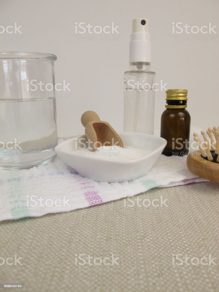 Homemade hair spray made of sugar water and essential oil stock photo