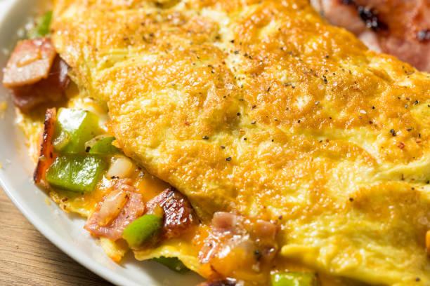 Homemade Ham and Pepper Denver Omelette stock photo