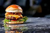 Homemade Hamburger on marble Background