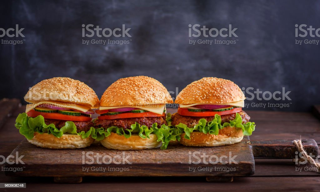 homemade hamburger with beef, onion, tomato - Royalty-free Barbecue Stock Photo
