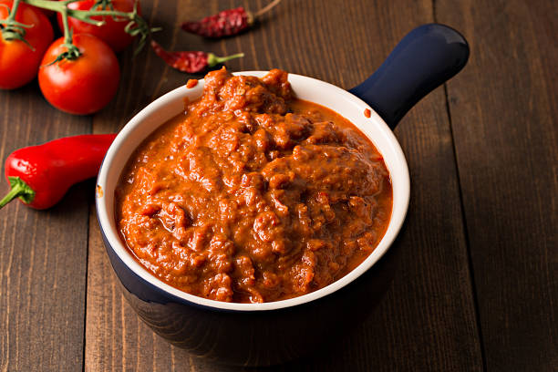 Homemade Harissa Paste stock photo
