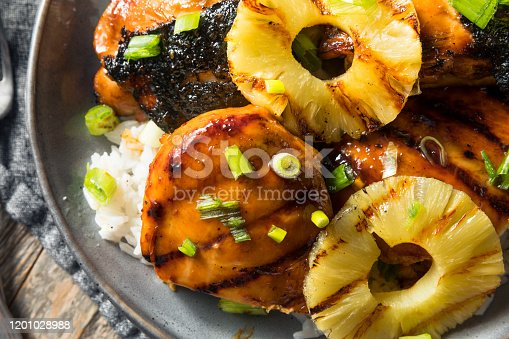 Homemade Hawaiian Huli Chicken with PIneapple and Rice