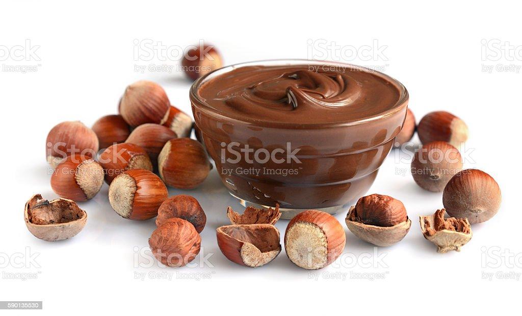 Homemade hazelnut spread in glass bowl stock photo