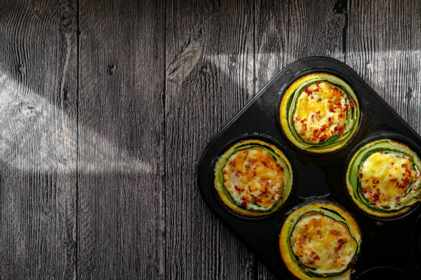 homemade healthy breakfast: cucumber muffin stuffed with egg and shrimp