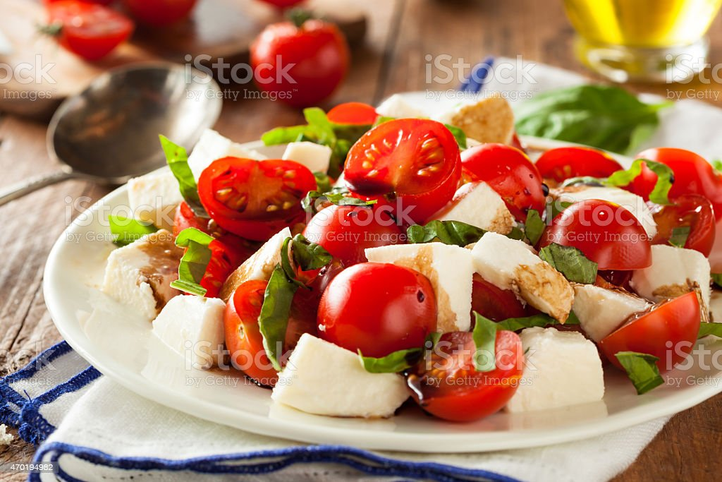 Homemade Healthy Caprese Salad stock photo