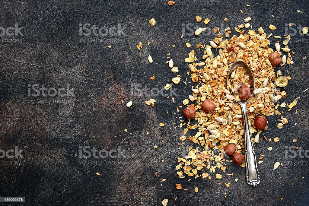 Homemade healthy organic granola on a spoon. stock photo