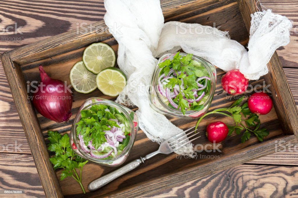 Homemade healthy salads with vegetables royalty-free stock photo