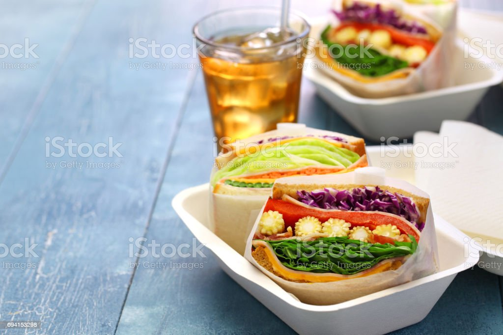 homemade healthy thick sandwich stock photo