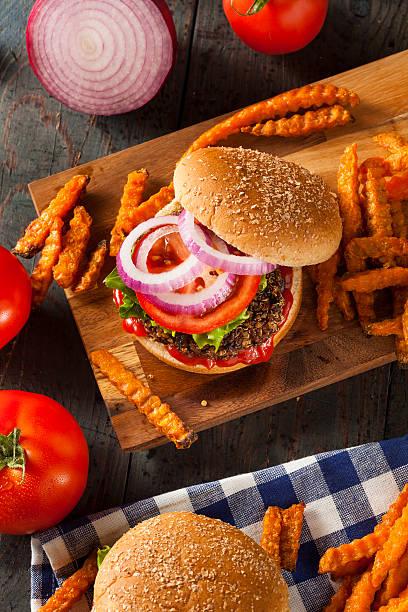 Homemade Healthy Vegetarian Quinoa Burger stock photo