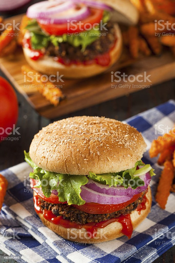 Homemade Healthy Vegetarian Quinoa Burger with Lettuce stock photo