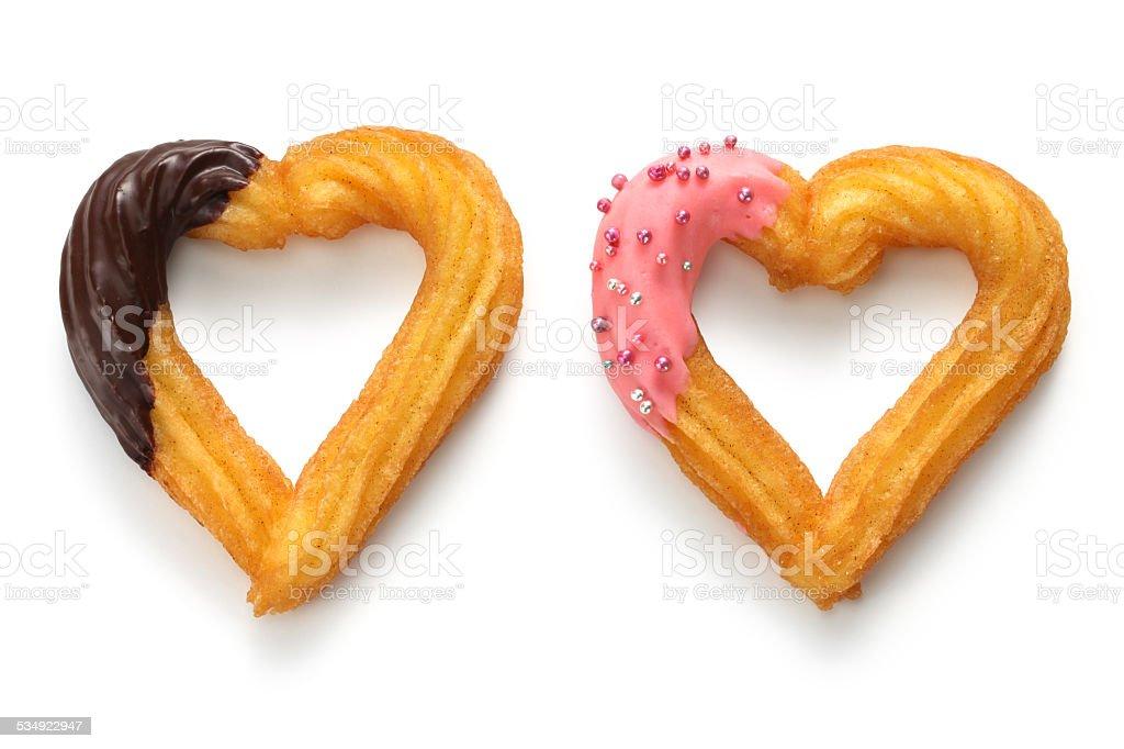 homemade heart shape churro, valentines day dessert stock photo