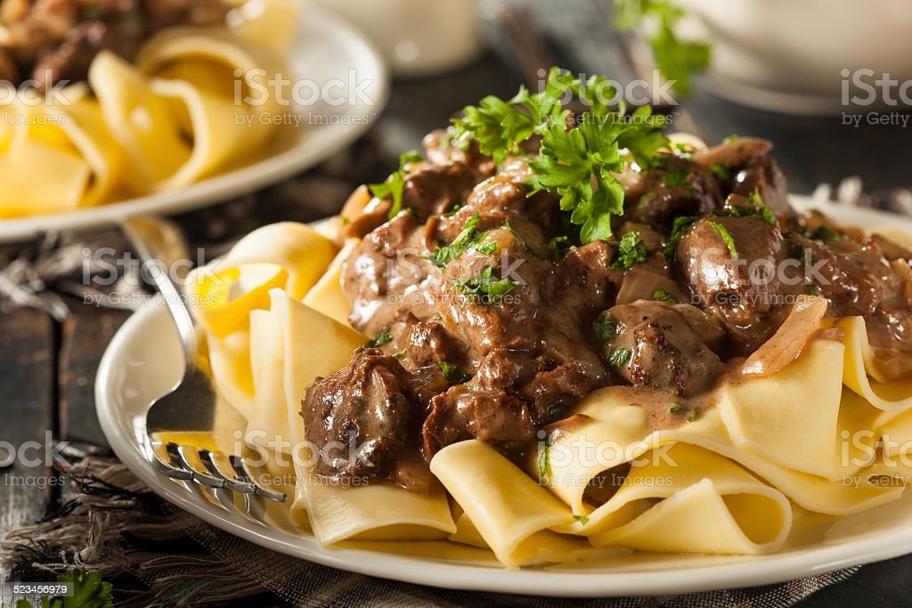 Homemade Hearty Beef Stroganoff stock photo