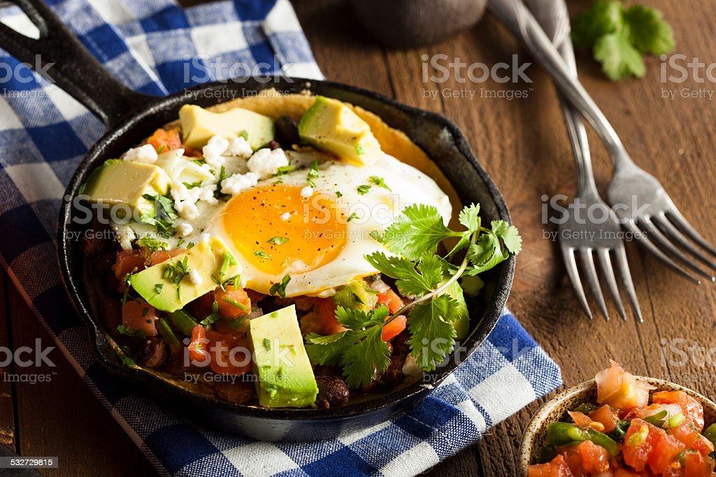 Homemade Heuvos Rancheros with Avocado stock photo