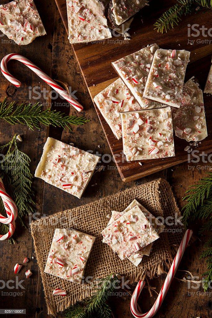Homemade Holiday Peppermint Bark stock photo
